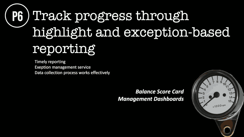 Track progress through highlight and exception-based reporting Timely reporting Exeption management service Data collection process works effectively Balance Score Card Management Dashboards