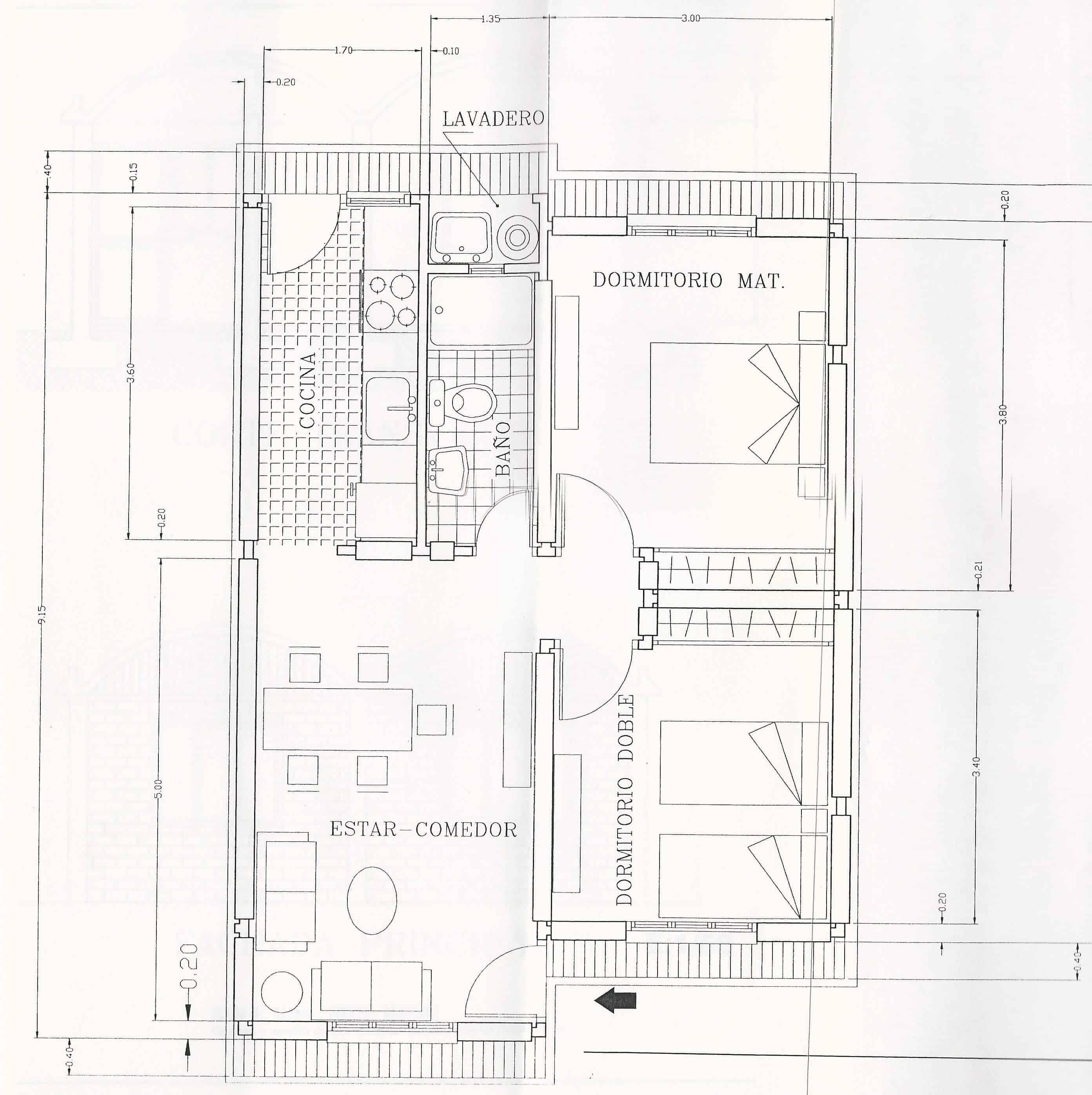 vivienda autoconstruccion mendoza plano planta tipo